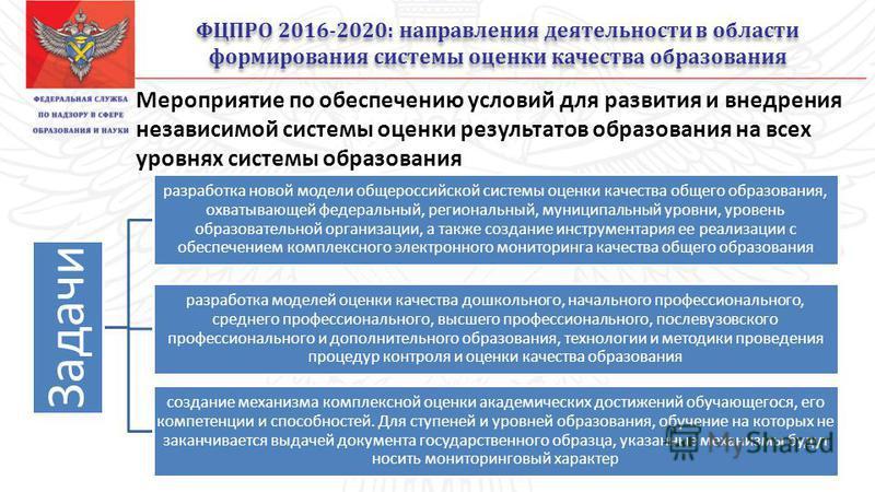 ФЦПРО 2016-2020: направления деятельности в области формирования системы оценки качества образования 4/34 Задачи разработка новой модели общероссийской системы оценки качества общего образования, охватывающей федеральный, региональный, муниципальный