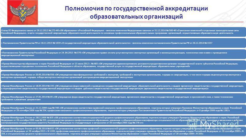 Полномочия по государственной аккредитации образовательных организаций Статья 92 Федерального закона от 29.12.2012 273-ФЗ «Об образовании в Российской Федерации» - внесены изменения Федеральным законом от 31.12.2014 500-ФЗ «О внесении изменений в отд