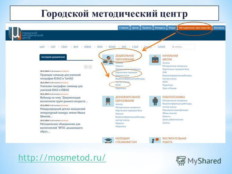 http://mosmetod.ru/ Городской методический центр
