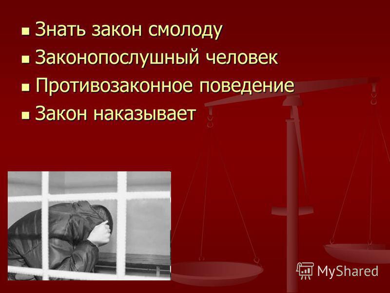 Знать закон смолоду Знать закон смолоду Законопослушный человек Законопослушный человек Противозаконное поведение Противозаконное поведение Закон наказывает Закон наказывает