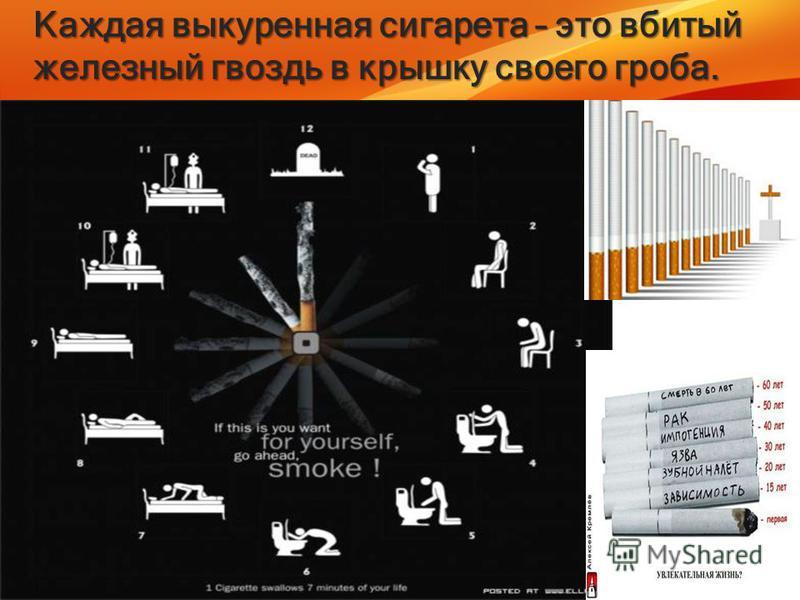 Каждая выкуренная сигарета – это вбитый железный гвоздь в крышку своего гроба.