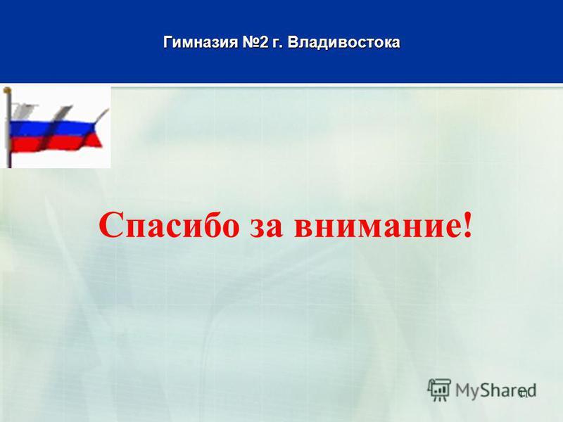 Гимназия 2 г. Владивостока Спасибо за внимание! 11