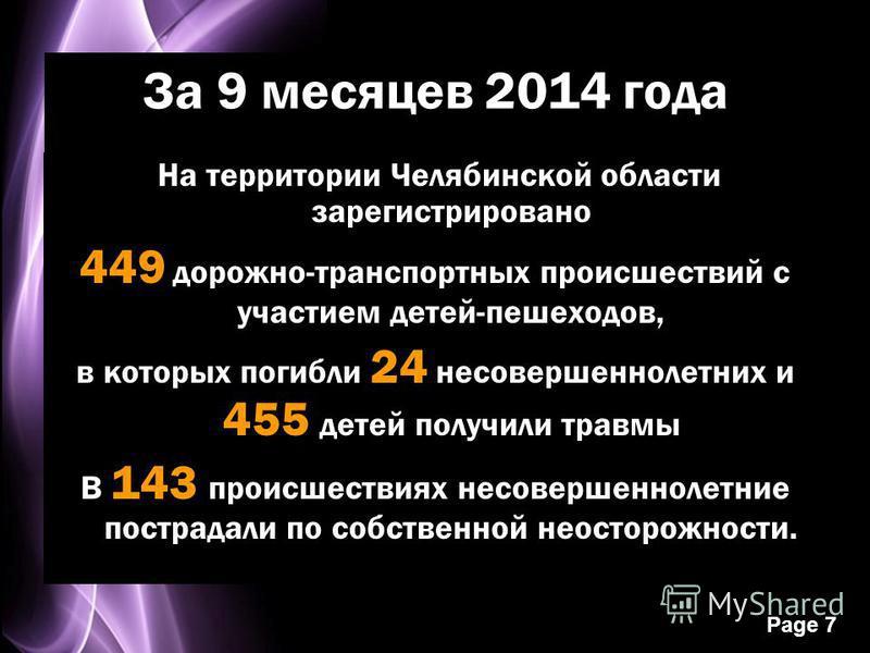 Page 7 За 9 месяцев 2014 года На территории Челябинской области зарегистрировано 449 дорожно-транспортных происшествий с участием детей-пешеходов, в которых погибли 24 несовершеннолетних и 455 детей получили травмы В 143 происшествиях несовершеннолет