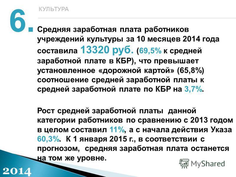 Средняя заработная плата работников учреждений культуры за 10 месяцев 2014 года составила 13320 руб. (69,5% к средней заработной плате в КБР), что превышает установленное «дорожной картой» (65,8%) соотношение средней заработной платы к средней зарабо