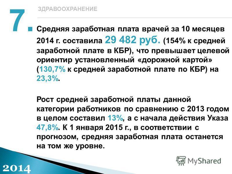 Средняя заработная плата врачей за 10 месяцев 2014 г. составила 29 482 руб. (154% к средней заработной плате в КБР), что превышает целевой ориентир установленный «дорожной картой» (130,7% к средней заработной плате по КБР) на 23,3%. Рост средней зара