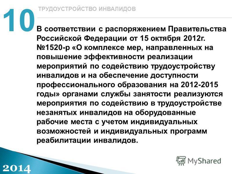 В соответствии с распоряжением Правительства Российской Федерации от 15 октября 2012 г. 1520-р «О комплексе мер, направленных на повышение эффективности реализации мероприятий по содействию трудоустройству инвалидов и на обеспечение доступности профе