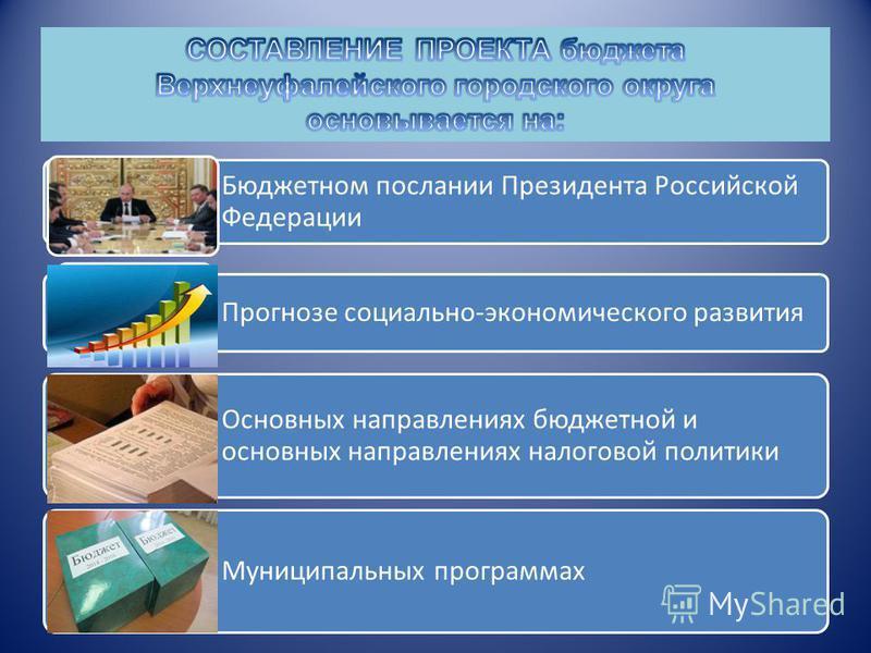 Бюджетном послании Президента Российской Федерации Прогнозе социально-экономического развития Основных направлениях бюджетной и основных направлениях налоговой политики Муниципальных программах