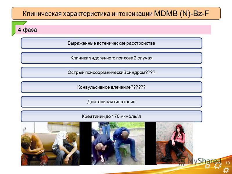 10 Клиническая характеристика интоксикации MDMB (N)-Bz-F 4 фаза Клиника эндогенного психоза 2 случая Острый психоорганический синдром???? Конвульсивное влечение?????? Длительная гипотония Креатинин до 170 мкмоль/ л Выраженные астенические расстройств