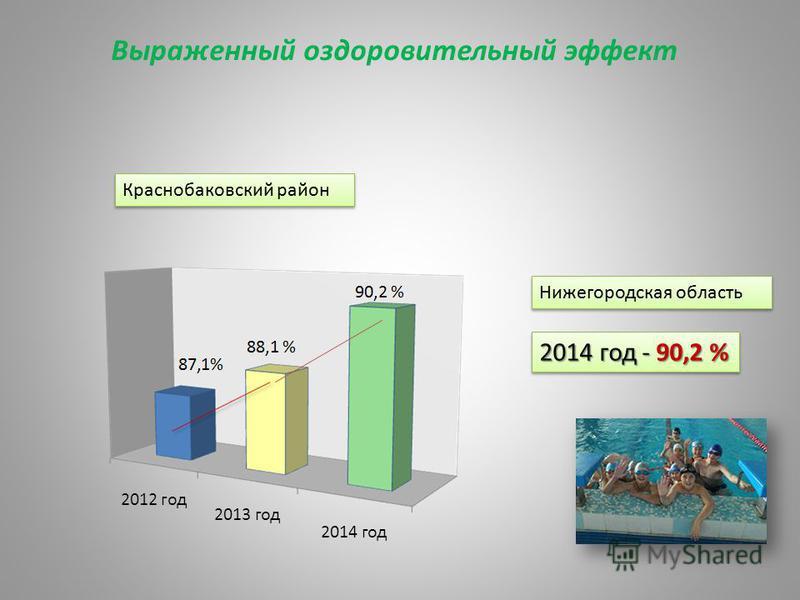 Выраженный оздоровительный эффект Нижегородская область 2014 год - 90,2 % Краснобаковский район