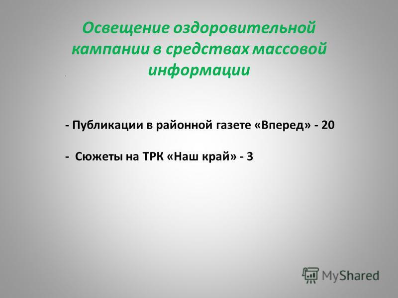 Освещение оздоровительной кампании в средствах массовой информации П- - Публикации в районной газете «Вперед» - 20 - Сюжеты на ТРК «Наш край» - 3