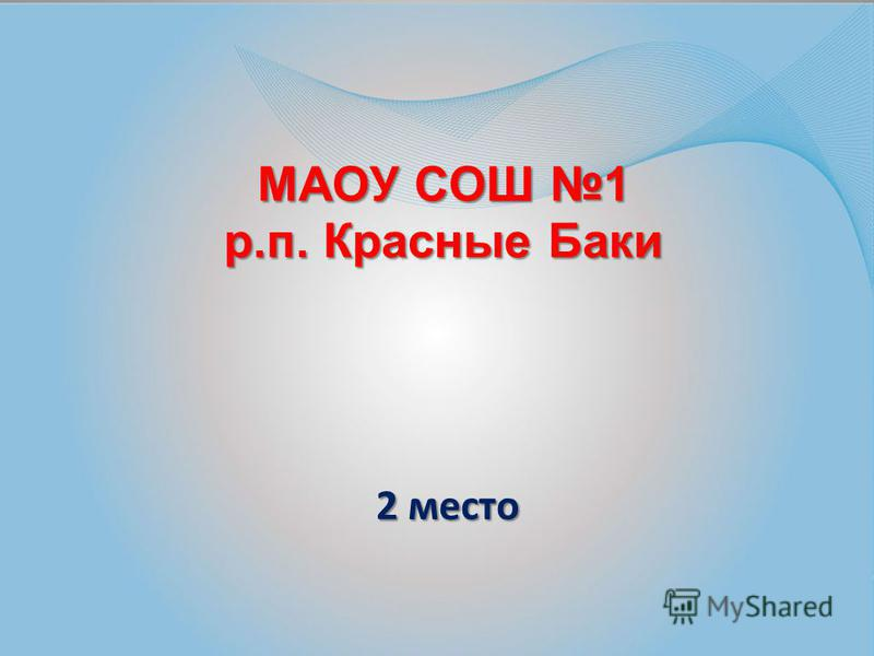 МАОУ СОШ 1 р.п. Красные Баки 2 место 2 место