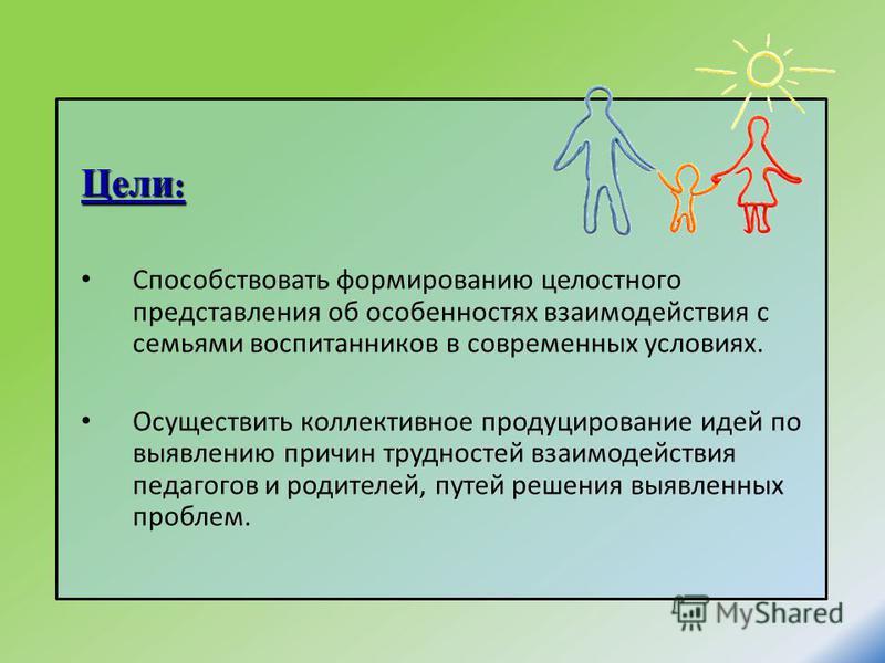 Цели : Способствовать формированию целостного представления об особенностях взаимодействия с семьями воспитанников в современных условиях. Осуществить коллективное продуцирование идей по выявлению причин трудностей взаимодействия педагогов и родителе