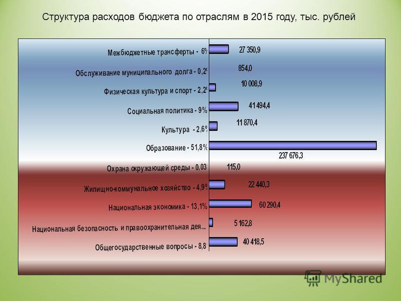 Структура расходов бюджета по отраслям в 2015 году, тыс. рублей