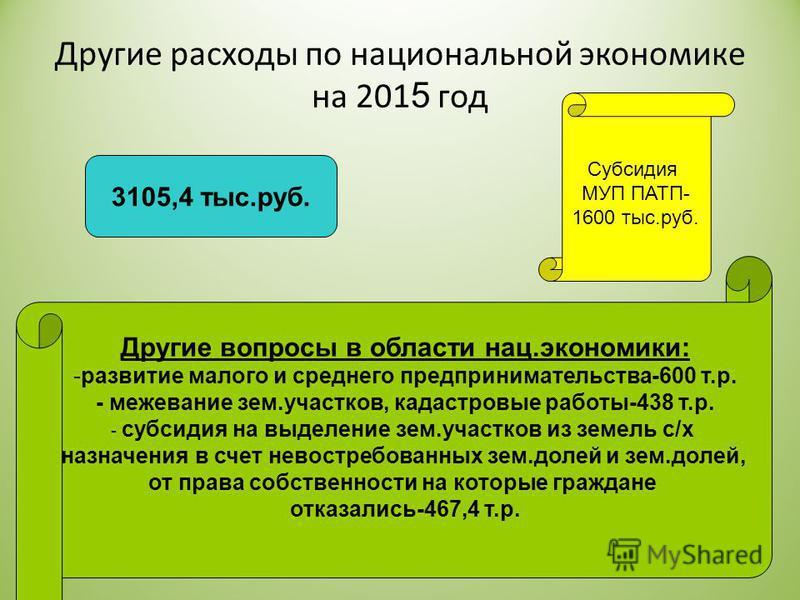 Другие расходы по национальной экономике на 201 5 год Субсидия МУП ПАТП- 1600 тыс.руб. Другие вопросы в области нац.экономики: -развитие малого и среднего предпринимательства-600 т.р. - межевание зем.участков, кадастровые работы-438 т.р. - субсидия н