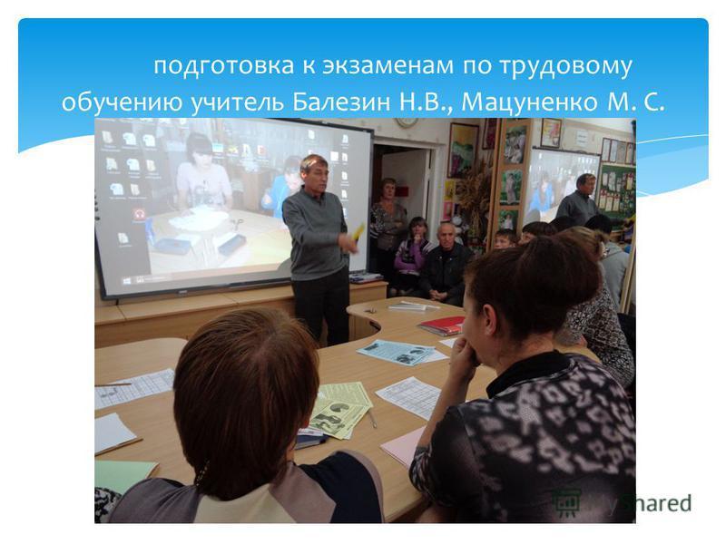 подготовка к экзаменам по трудовому обучению учитель Балезин Н.В., Мацуненко М. С.