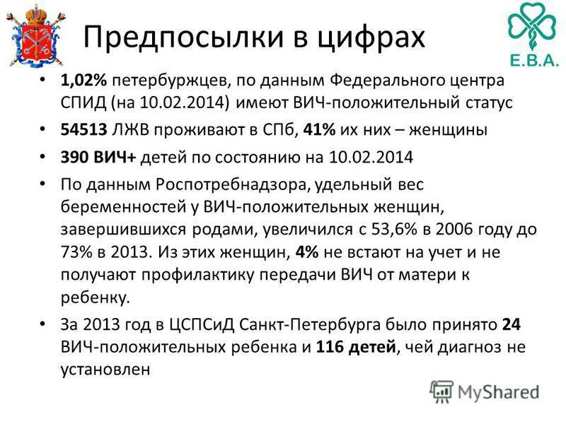 Предпосылки в цифрах 1,02% петербуржцев, по данным Федерального центра СПИД (на 10.02.2014) имеют ВИЧ-положительный статус 54513 ЛЖВ проживают в СПб, 41% их них – женщины 390 ВИЧ+ детей по состоянию на 10.02.2014 По данным Роспотребнадзора, удельный