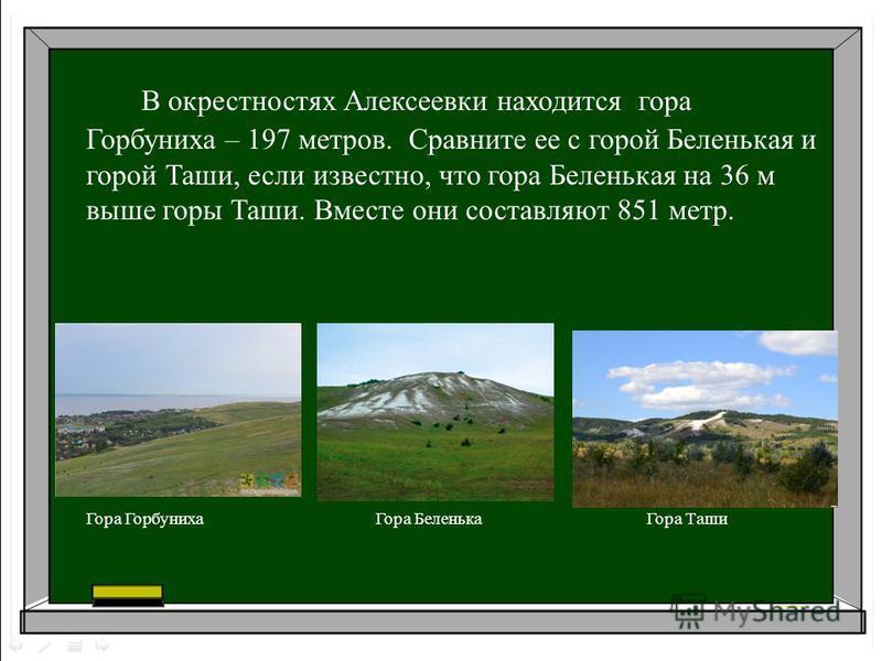 В окрестностях Алексеевки находится гора Горбуниха – 197 метров. Сравните ее с горой Беленькая и горой Таши, если известно, что гора Беленькая на 36 м выше горы Таши. Вместе они составляют 851 метр. Гора Горбуниха Гора Беленька Гора Таши