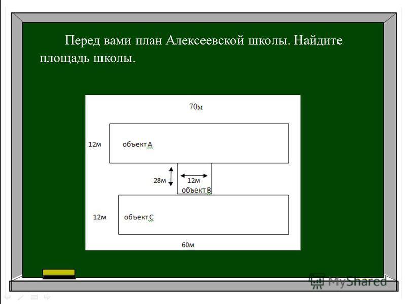 Перед вами план Алексеевской школы. Найдите площадь школы.