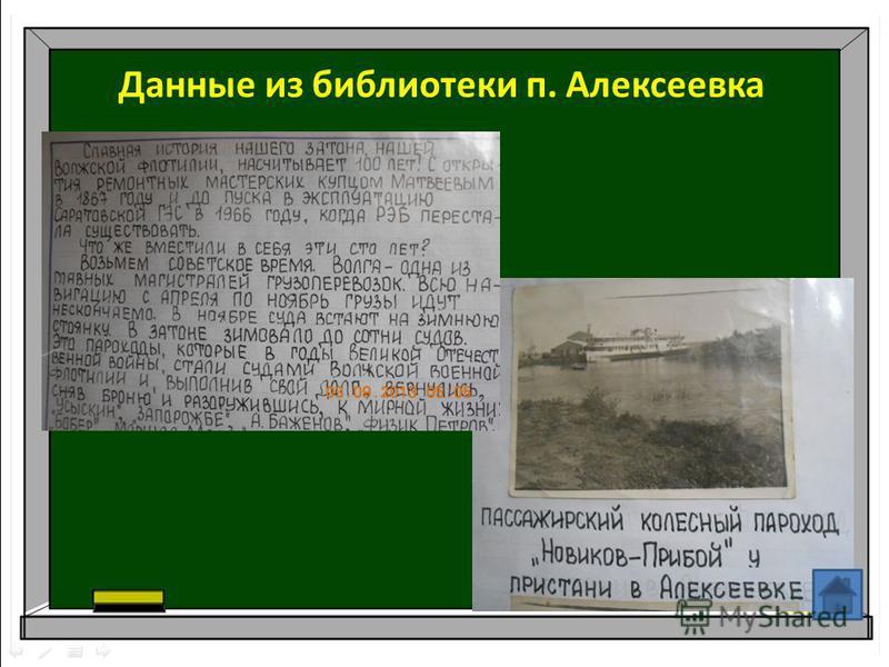 Данные из библиотеки п. Алексеевка
