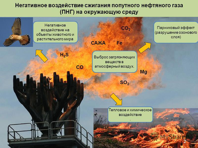 Негативное воздействие сжигания попутного нефтяного газа (ПНГ) на окружающую среду 2 СО 2 САЖА Mg SO 2 H2SH2S Fe CO Выброс загрязняющих веществ в атмосферный воздух. Тепловое и химическое воздействие. Парниковый эффект (разрушение озонового слоя) Нег