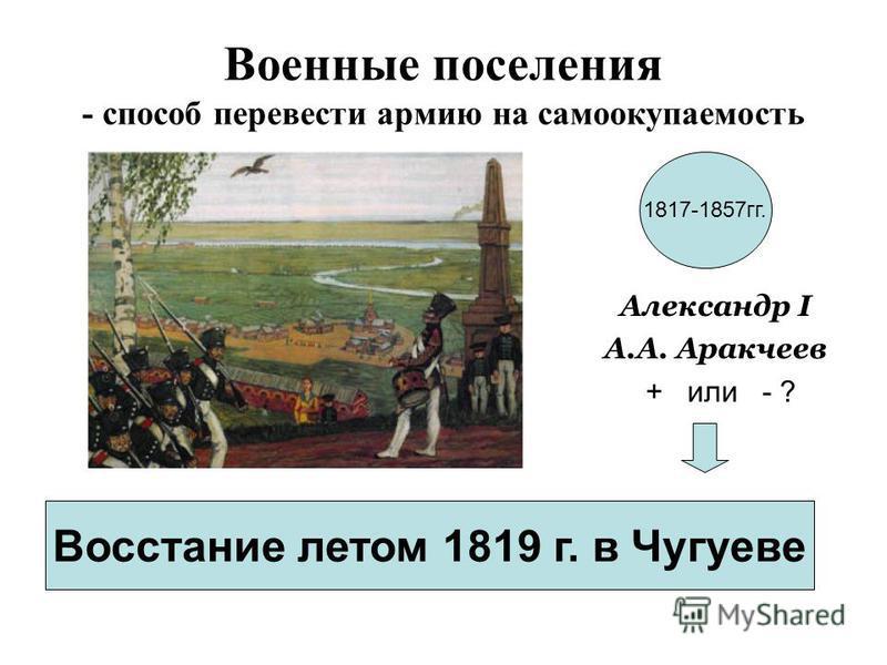 Военные поселения - способ перевести армию на самоокупаемость Александр I А.А. Аракчеев + или - ? Восстание летом 1819 г. в Чугуеве 1817-1857 гг.