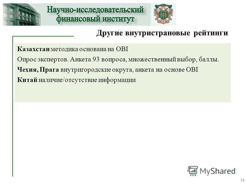 Казахстан методика основана на OBI Опрос экспертов. Анкета 93 вопроса, множественный выбор, баллы. Чехия, Прага внутригородские округа, анкета на основе OBI Китай наличие/отсутствие информации Другие внутристрановые рейтинги 16