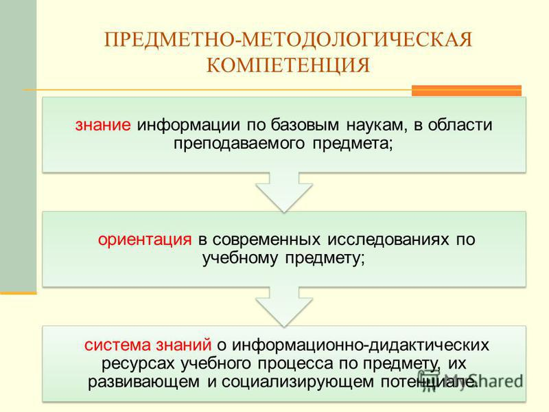 ПРЕДМЕТНО-МЕТОДОЛОГИЧЕСКАЯ КОМПЕТЕНЦИЯ система знаний о информационно-дидактических ресурсах учебного процесса по предмету, их развивающем и социализирующем потенциале. ориентация в современных исследованиях по учебному предмету; знание информации по