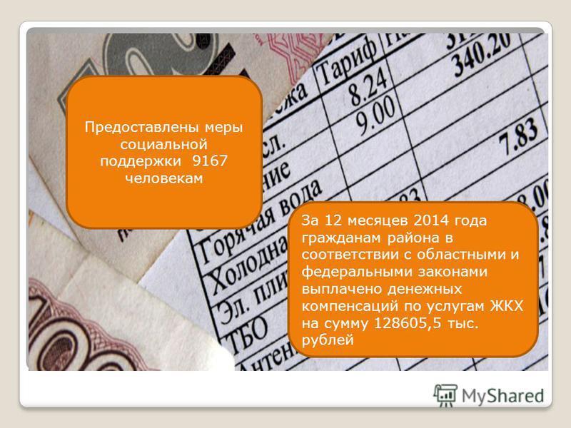 Предоставлены меры социальной поддержки 9167 человекам За 12 месяцев 2014 года гражданам района в соответствии с областными и федеральными законами выплачено денежных компенсаций по услугам ЖКХ на сумму 128605,5 тыс. рублей