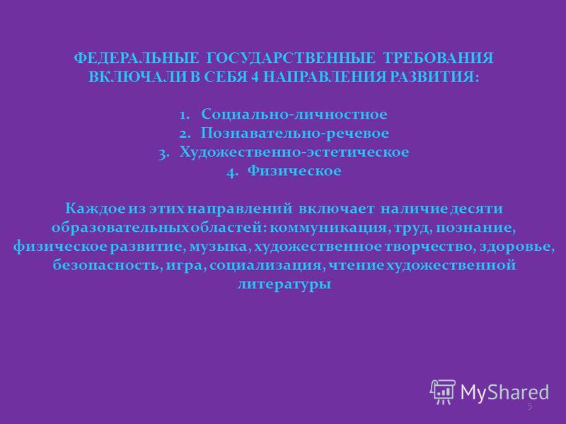 5 ФЕДЕРАЛЬНЫЕ ГОСУДАРСТВЕННЫЕ ТРЕБОВАНИЯ ВКЛЮЧАЛИ В СЕБЯ 4 НАПРАВЛЕНИЯ РАЗВИТИЯ: 1.Социально-личностное 2.Познавательно-речевое 3.Художественно-эстетическое 4. Физическое Каждое из этих направлений включает наличие десяти образовательных областей: ко