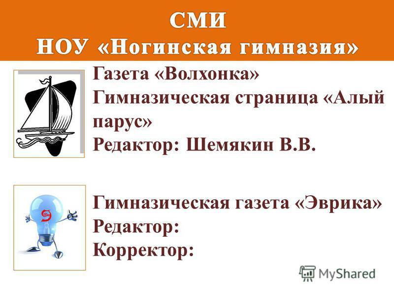 Газета «Волхонка» Гимназическая страница «Алый парус» Редактор: Шемякин В.В. Гимназическая газета «Эврика» Редактор: Корректор: