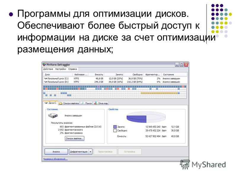 Программы для оптимизации дисков. Обеспечивают более быстрый доступ к информации на диске за счет оптимизации размещения данных;
