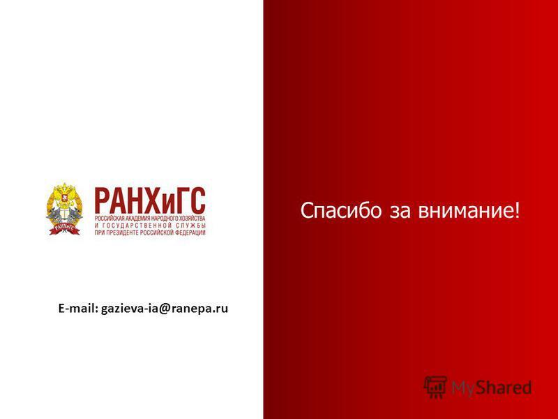 Спасибо за внимание! E-mail: gazieva-ia@ranepa.ru