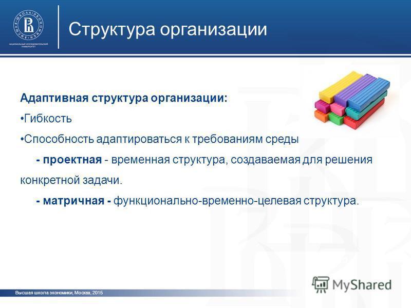 Высшая школа экономики, Москва, 2015 Структура организации фото ото Адаптивная структура организации: Гибкость Способность адаптироваться к требованиям среды - проектная - временная структура, создаваемая для решения конкретной задачи. - матричная -