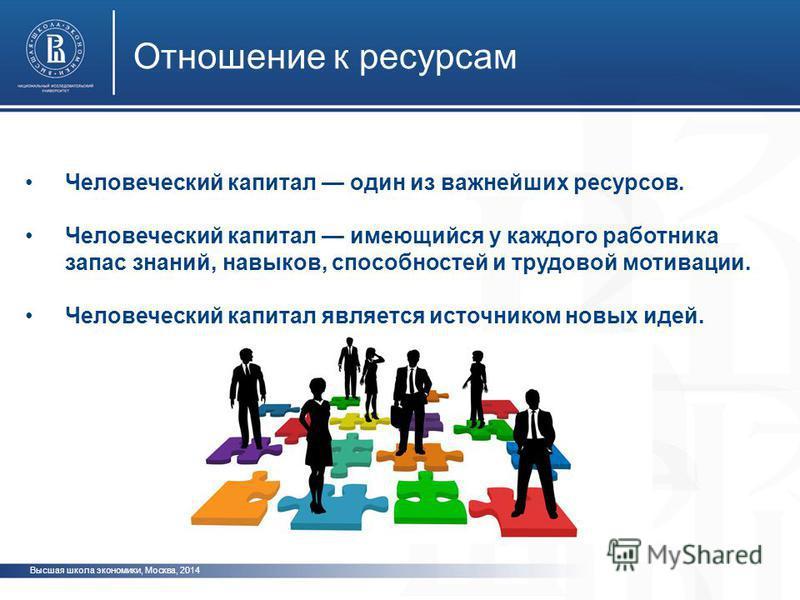 Высшая школа экономики, Москва, 2014 Отношение к ресурсам Человеческий капитал один из важнейших ресурсов. Человеческий капитал имеющийся у каждого работника запас знаний, навыков, способностей и трудовой мотивации. Человеческий капитал является исто