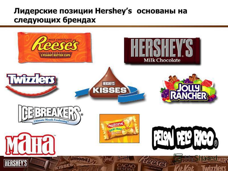 Лидерские позиции Hersheys основаны на следующих брендах