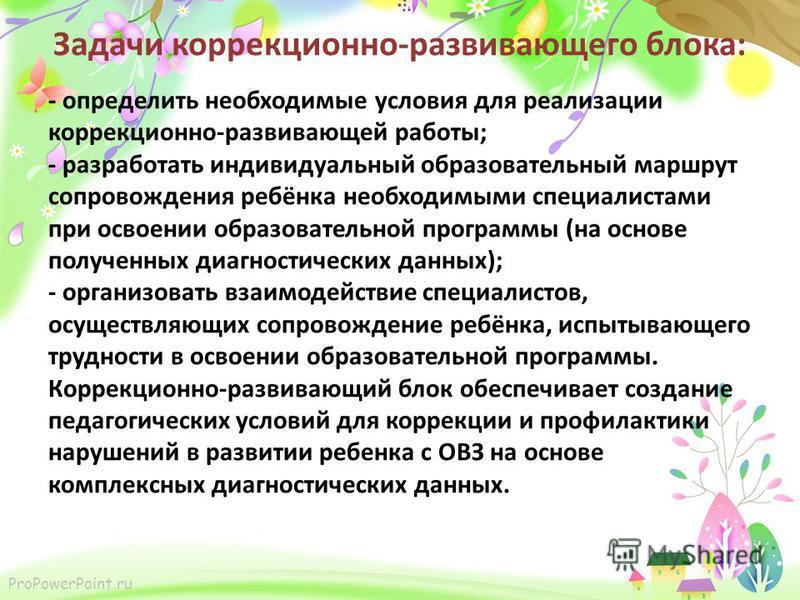 ProPowerPoint.ru Задачи коррекционно-развивающего блока: - определить необходимые условия для реализации коррекционно-развивающей работы; - разработать индивидуальный образовательный маршрут сопровождения ребёнка необходимыми специалистами при освоен