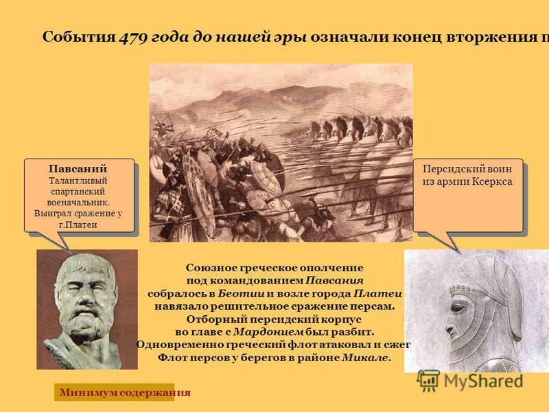Персидский воин из армии Ксеркса Павсаний Талантливый спартанский военачальник. Выиграл сражение у г.Платеи Павсаний Талантливый спартанский военачальник. Выиграл сражение у г.Платеи События 479 года до нашей эры означали конец вторжения персов Союзн