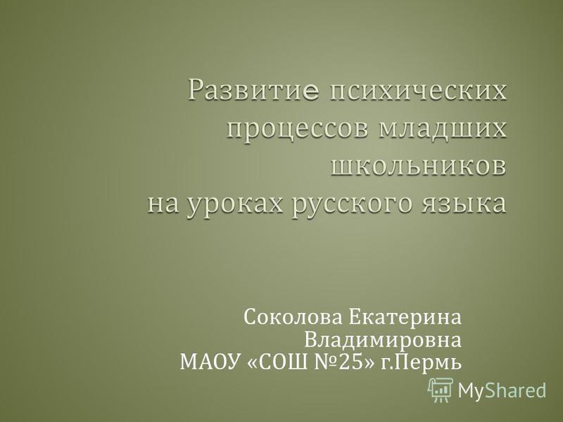 Соколова Екатерина Владимировна МАОУ « СОШ 25» г. Пермь