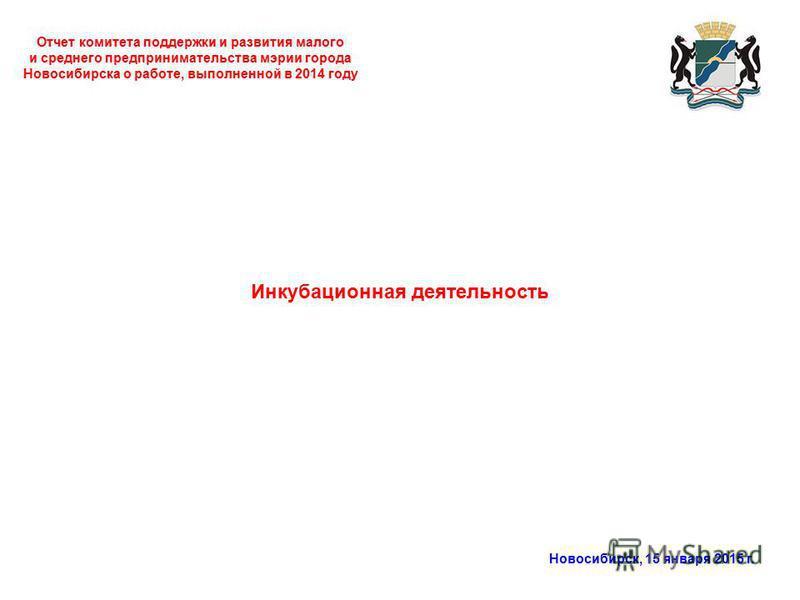 Отчет комитета поддержки и развития малого и среднего предпринимательства мэрии города Новосибирска о работе, выполненной в 2014 году Новосибирск, 15 января 2015 г. Инкубационная деятельность