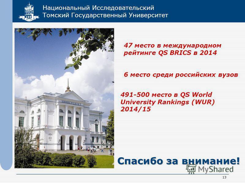 Национальный Исследовательский Томский Государственный Университет 13 Спасибо за внимание! 47 место в международном рейтинге QS BRICS в 2014 6 место среди российских вузов 491-500 место в QS World University Rankings (WUR) 2014/15