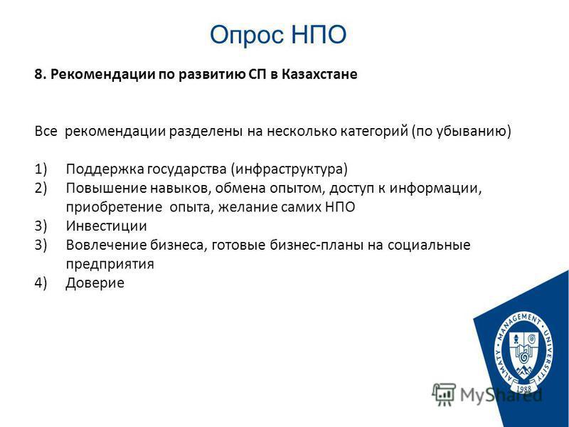 Опрос НПО Стр. 8. Рекомендации по развитию СП в Казахстане Все рекомендации разделены на несколько категорий (по убыванию) 1)Поддержка государства (инфраструктура) 2)Повышение навыков, обмена опытом, доступ к информации, приобретение опыта, желание с