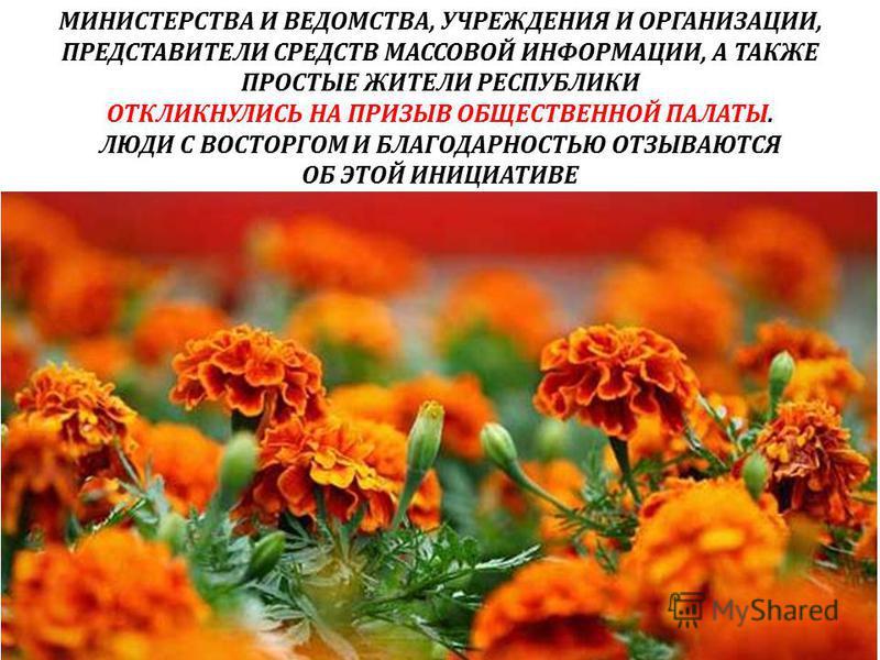 МИНИСТЕРСТВА И ВЕДОМСТВА, УЧРЕЖДЕНИЯ И ОРГАНИЗАЦИИ, ПРЕДСТАВИТЕЛИ СРЕДСТВ МАССОВОЙ ИНФОРМАЦИИ, А ТАКЖЕ ПРОСТЫЕ ЖИТЕЛИ РЕСПУБЛИКИ ОТКЛИКНУЛИСЬ НА ПРИЗЫВ ОБЩЕСТВЕННОЙ ПАЛАТЫ. ЛЮДИ С ВОСТОРГОМ И БЛАГОДАРНОСТЬЮ ОТЗЫВАЮТСЯ ОБ ЭТОЙ ИНИЦИАТИВЕ