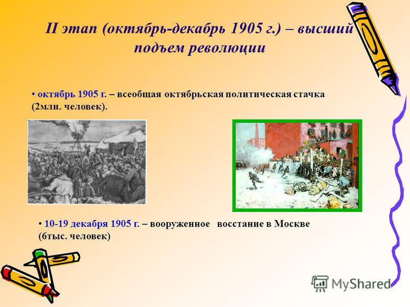 II этап (октябрь-декабрь 1905 г.) – высший подъем революции октябрь 1905 г. – всеобщая октябрьская политическая стачка (2 млн. человек). 10-19 декабря 1905 г. – вооруженное восстание в Москве (6 тыс. человек)