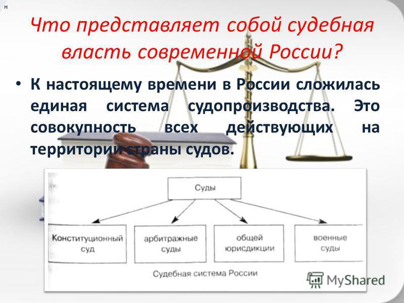 Что представляет собой судебная власть современной России? К настоящему времени в России сложилась единая система судопроизводства. Это совокупность всех действующих на территории страны судов. н