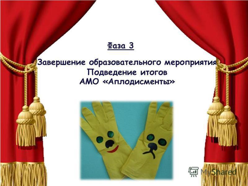 Фаза 3 Завершение образовательного мероприятия Подведение итогов АМО «Аплодисменты»