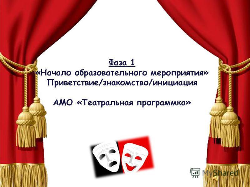 Фаза 1 «Начало образовательного мероприятия» Приветствие/знакомство/инициация АМО «Театральная программка»