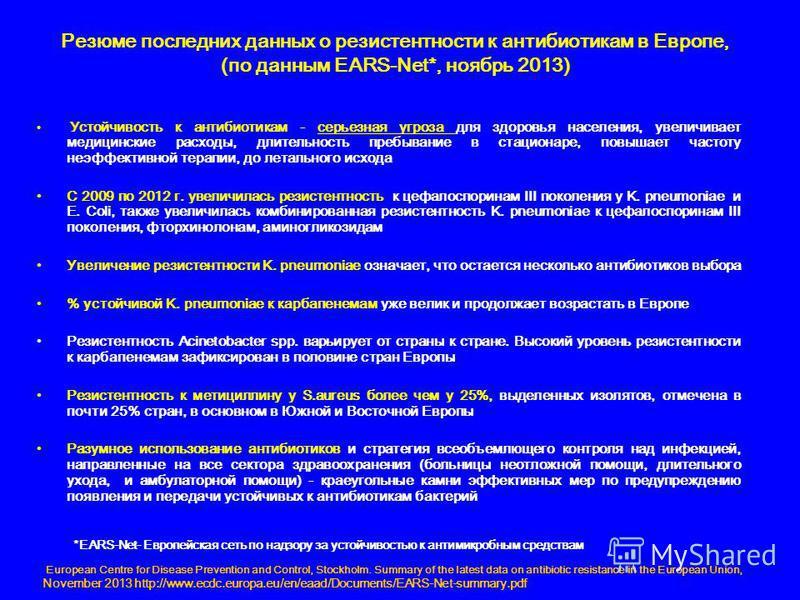 Резюме последних данных о резистентности к антибиотикам в Европе, (по данным EARS-Net*, ноябрь 2013) Устойчивость к антибиотикам - серьезная угроза для здоровья населения, увеличивает медицинские расходы, длительность пребывание в стационаре, повышае