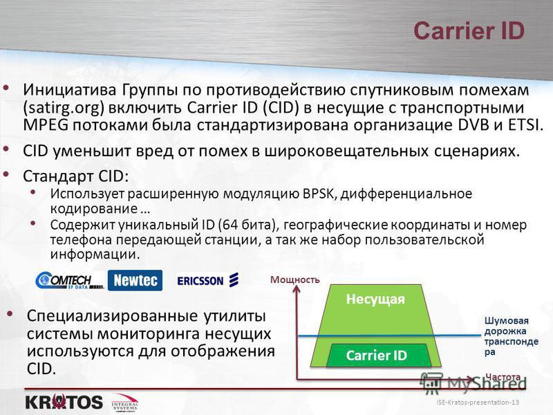 ISE-Kratos-presentation-13 Carrier ID Инициатива Группы по противодействию спутниковым помехам (satirg.org) включить Carrier ID (CID) в несущие с транспортными MPEG потоками была стандартизирована организации DVB и ETSI. CID уменьшит вред от помех в