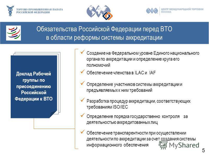 Обязательства Российской Федерации перед ВТО в области реформы системы аккредитации Доклад Рабочей группы по присоединению Российской Федерации к ВТО (16 ноября 2013 г.) Определение участников системы аккредитации и предъявляемых к ним требований Обе