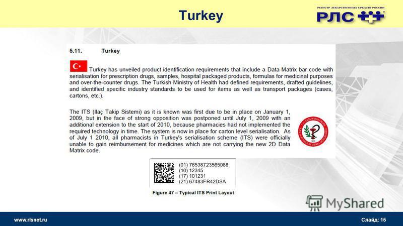 www.rlsnet.ru Слайд: 15 Turkey